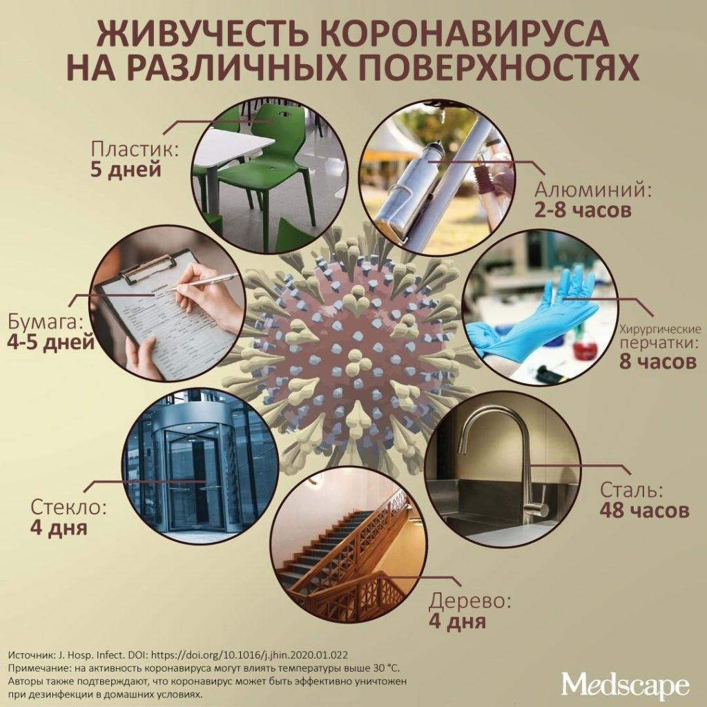 Живучесть коронавируса на различных поверхностях